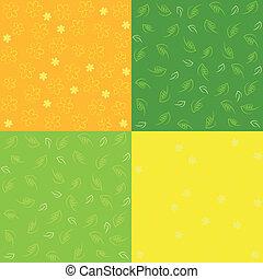 パターン, セット, seamless, 春