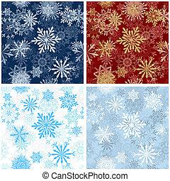 パターン, セット, seamless, 雪片