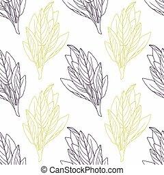 パターン, セージ, seamless, wirh, 手, 定型, 緑, ブランチ, 引かれる, 黒, 花