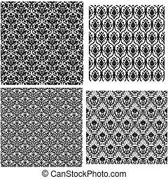 パターン, ダマスク織, seamless, 4