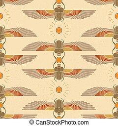 パターン, ナンセンス, イラスト, 古代, 足, 太陽, シンボル, エジプト, ∥そ∥, 形態, wings., オオタマオシコガネ, シンボル, かぶと虫