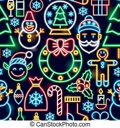 パターン, ネオン, クリスマス, seamless