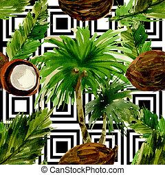 パターン, ハワイ, 水彩画, 木, 葉, やし, style., トロピカル