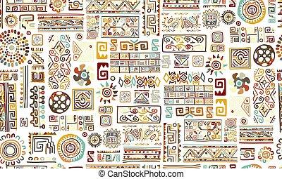 パターン, ハンドメイド, デザイン, 装飾, 民族, あなたの, seamless