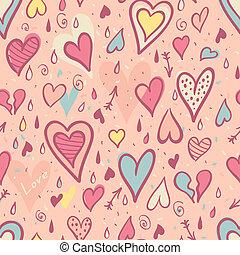 パターン, バレンタイン, seamless, 心