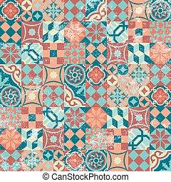 パターン, パッチワーク, モザイク, 東洋人, seamless, 型