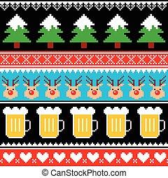 パターン, ビール, クリスマス, ジャンパー