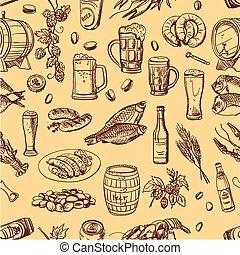 パターン, ビール, 図画, 手