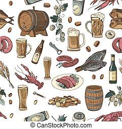 パターン, ビール, 手, 図画, 有色人種