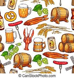 パターン, ビール, 飲みなさい, seamless, 背景