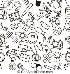 パターン, フィットネス, seamless, icons., スポーツ