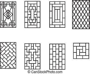 パターン, フレーム, セット, 窓, 中国語