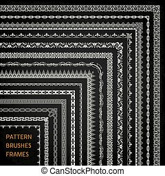 パターン, フレーム, ブラシ, 1, ベクトル, コーナー, 線, ボーダー