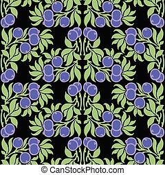 パターン, ブルーベリー, 装飾用である, seamless