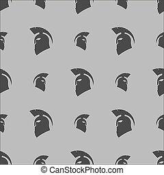 パターン, ヘルメット, シルエット, seamless, ギリシャ語