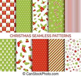 パターン, ベクトル, セット, クリスマス, seamless