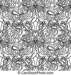 パターン, ベクトル, デザイン, バックグラウンド。, illustration., 芸術, nouveau., 白...