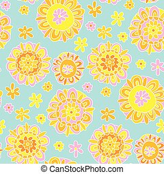 パターン, ベクトル, バックグラウンド。, 60s, 装飾用である, 表面, デザイン, ペーパー, マリーゴールド, 包むこと, スタイル, seamless, 概念, 生地, 花