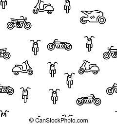 パターン, ベクトル, モーターバイク, seamless