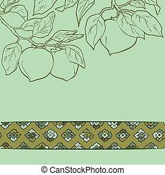 パターン, ベクトル, 柿, seamless