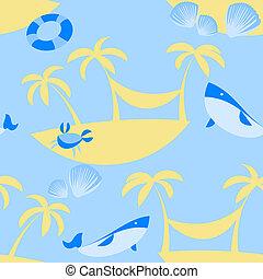 パターン, ベクトル, 浜, seamless