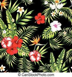 パターン, ベクトル, 現実的, 黒, 植物, 背景, seamless