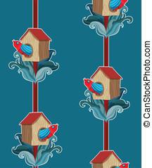 パターン, ベクトル, 鳥, seamless, starling-house