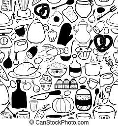パターン, ベクトル, seamless, 台所