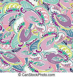 パターン, ペイズリー織, indian, カラフルである, seamless