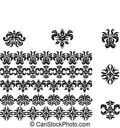 パターン, ボーダー, 花