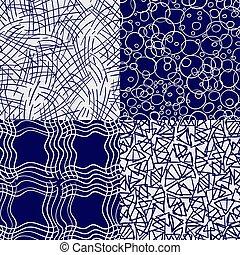 パターン, ボールペン, セット, 図画, seamless