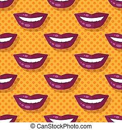 パターン, ポルカ, seamless, 唇, 歯, 微笑, 点