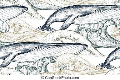パターン, モノクローム, スケッチ, 波, 鯨, ベクトル, 海洋, style., seamless