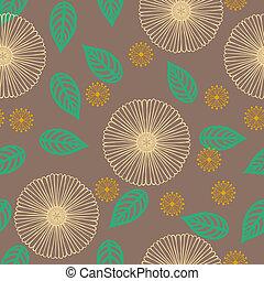 パターン, ライン, ベクトル, 薄くなりなさい, 引かれる, 花