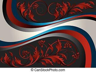 パターン, リボン, 黒い背景, 赤
