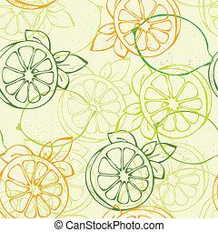 パターン, レモン, seamless