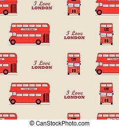 パターン, ロンドン, seamless, バス, 都市