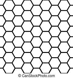 パターン, 上に, seamless, 黒, 白, ハチの巣