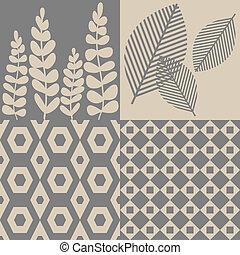 パターン, 中に, 灰色, そして, ベージュ