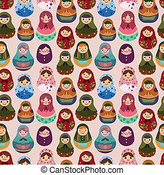 パターン, 人形, seamless, ロシア人
