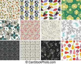 パターン, 別, セット, 花, seamless