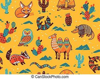 パターン, 動物, seamless, 砂漠