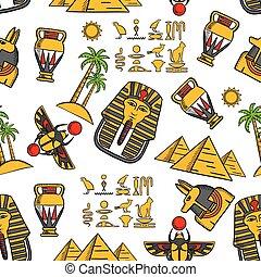 パターン, 古代, seamless, 装飾, エジプト人