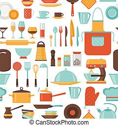 パターン, 台所, utensils., seamless, レストラン