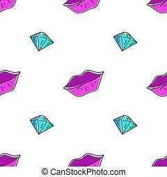 パターン, 唇, ダイヤモンド, seamless