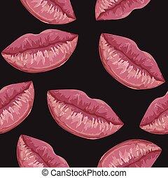 パターン, 唇, 女, seamless
