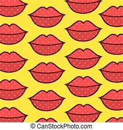 パターン, 唇, 芸術, ポンとはじけなさい