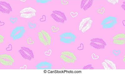 パターン, 唇, 跡, seamless, 心