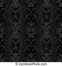 パターン, 壁紙, 黒, seamless