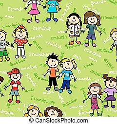 パターン, 子供, 友情, seamless